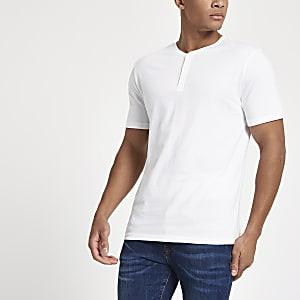 T-shirt slim blanc à col boutonné