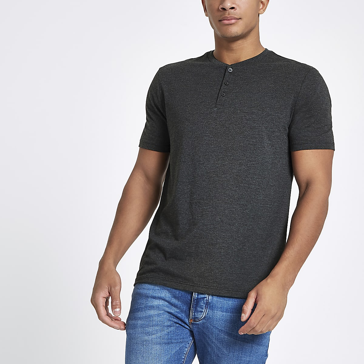 Grey slim fit button henley T-shirt