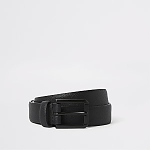 Big and Tall black matte faux leather belt