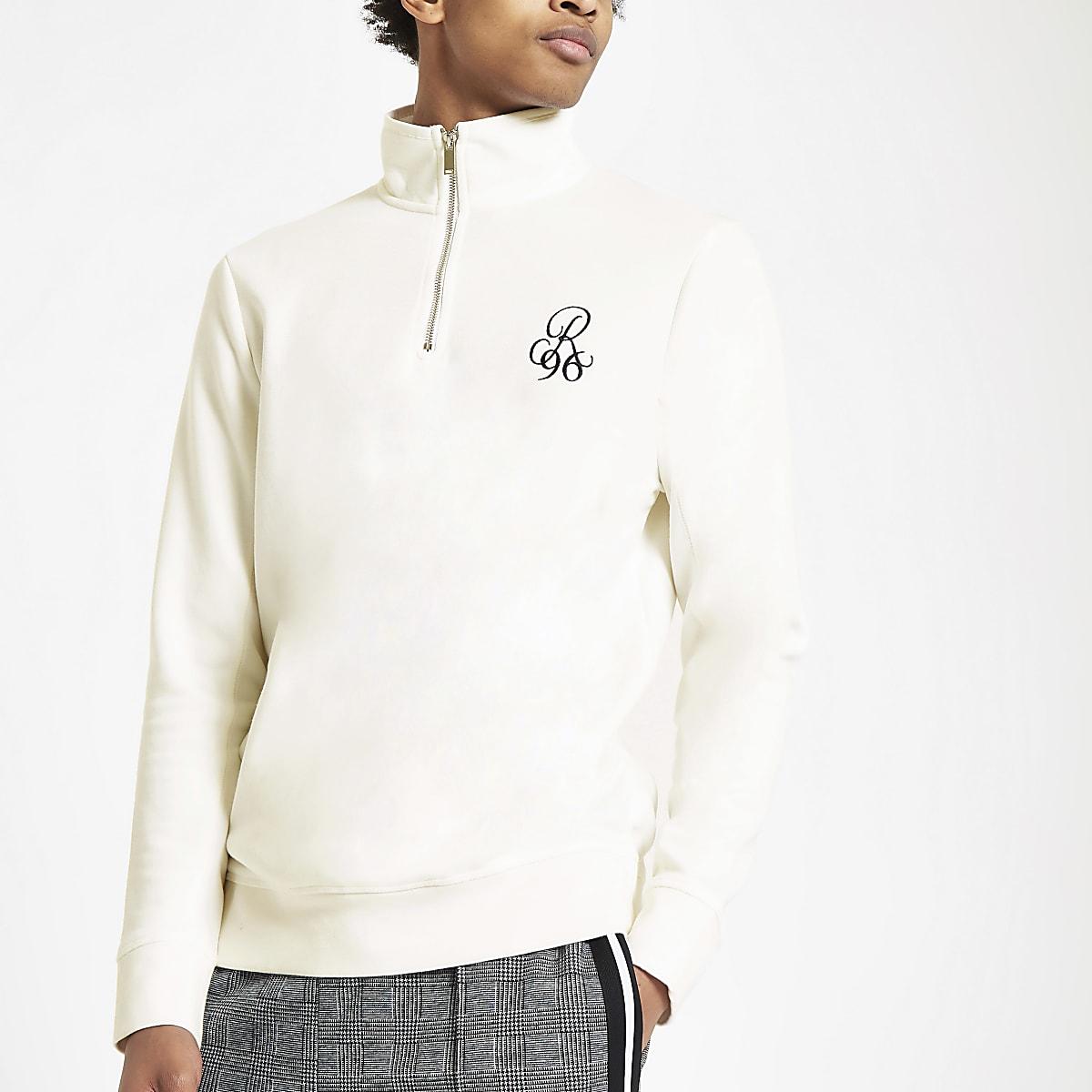R96 white slim fit funnel neck sweatshirt