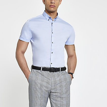 Light blue short sleeve slim fit poplin shirt