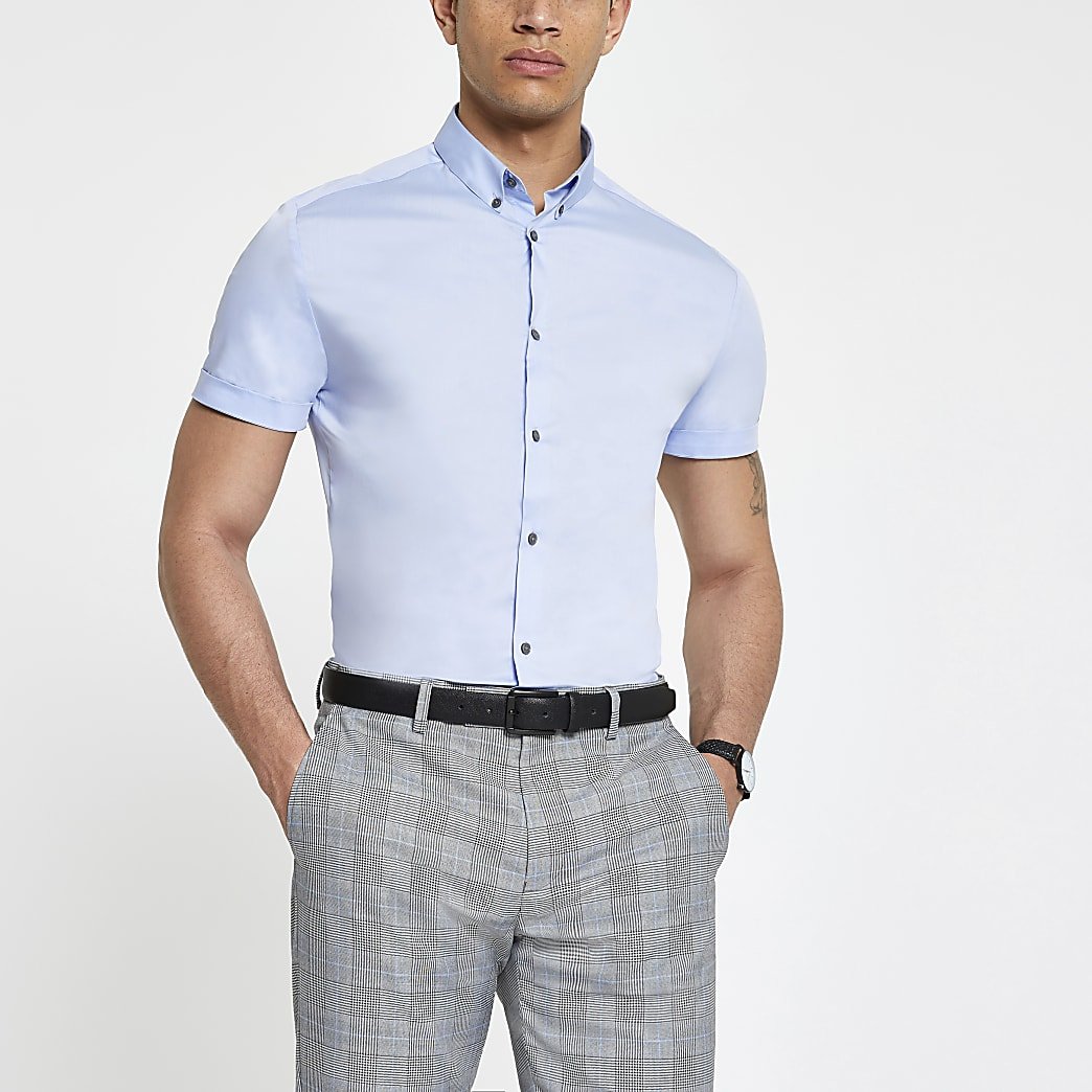Lichtblauw slim-fit poplin overhemd met korte mouwen