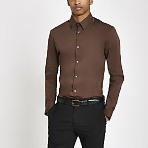 Brown poplin muscle fit long sleeve shirt