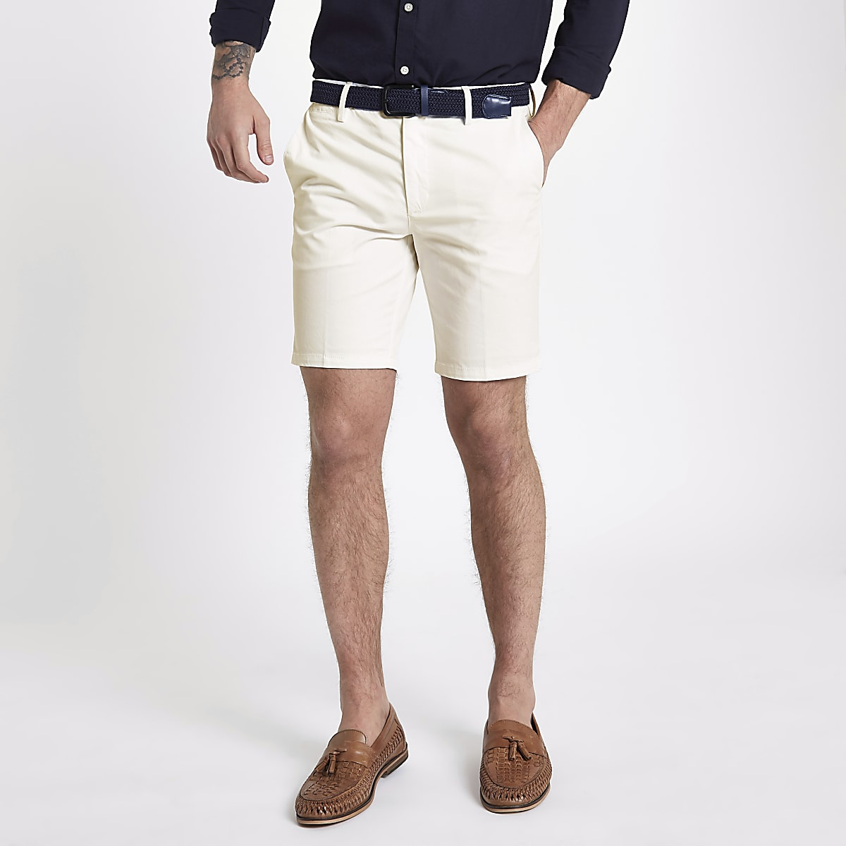 abf5425478 White slim fit belted chino shorts - Smart Shorts - Shorts - men