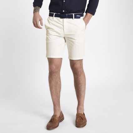 White slim fit belted chino shorts