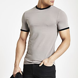 Steingraues Muscle Fit Ringer-T-Shirt