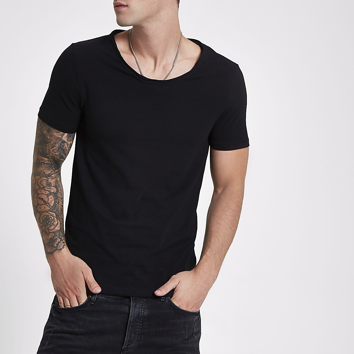 b63efa7a Black muscle fit scoop neck T-shirt - T-shirts - T-Shirts & Vests - men