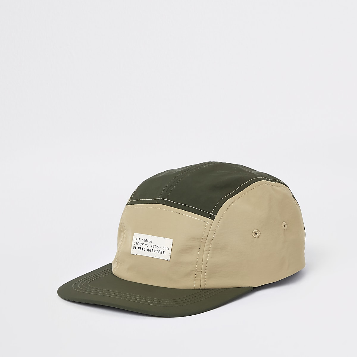 Khaki colour block stitched five panel cap