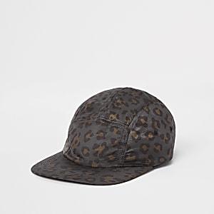 Casquette à imprimé léopard anthracite en cinq empiècements