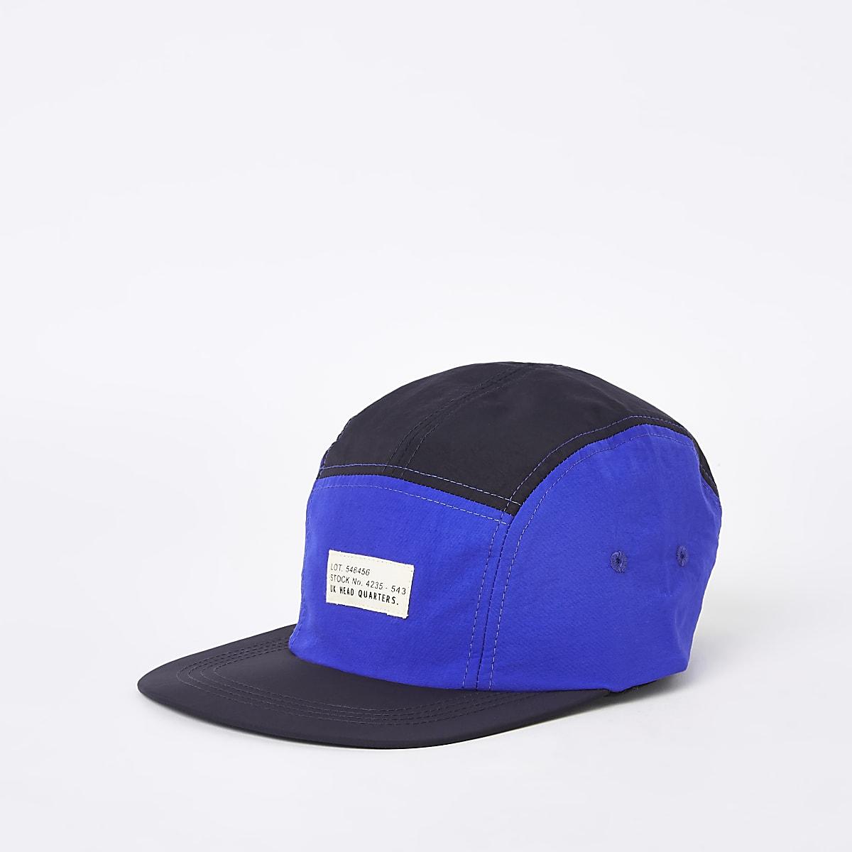Blue color block stitched five panel cap