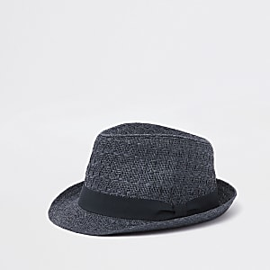 Navy straw trilby hat