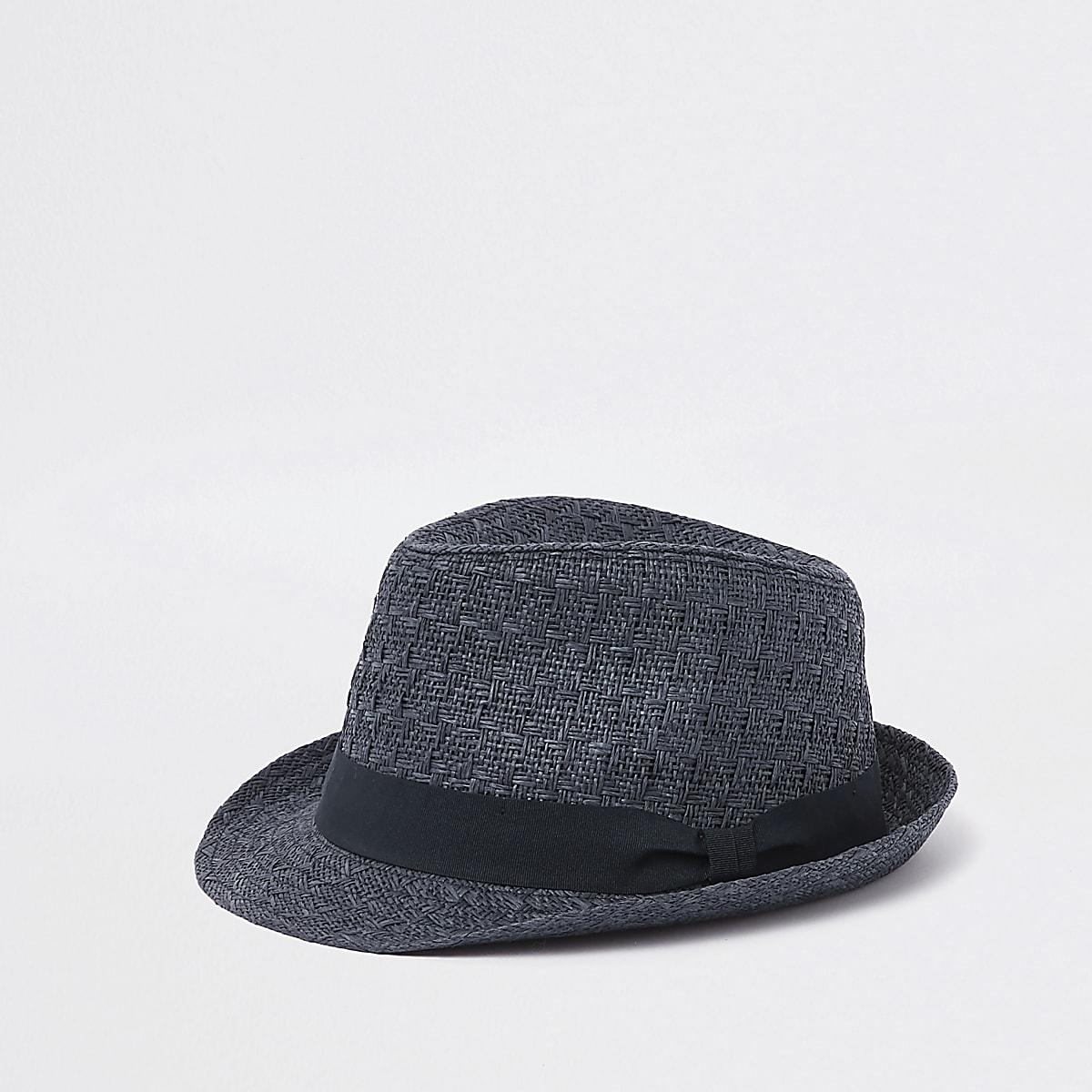 Navy straw trilby hat