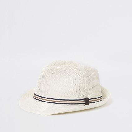 Ecru straw trilby hat