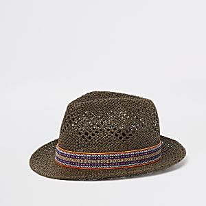 Brown straw trilby hat