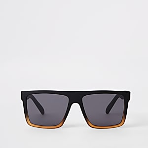 fb5128cde509 Black slim retro square sunglasses