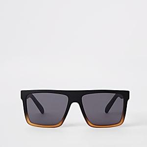 139c590e879d39 Zwarte zonnebril met smal retro vierkant montuur