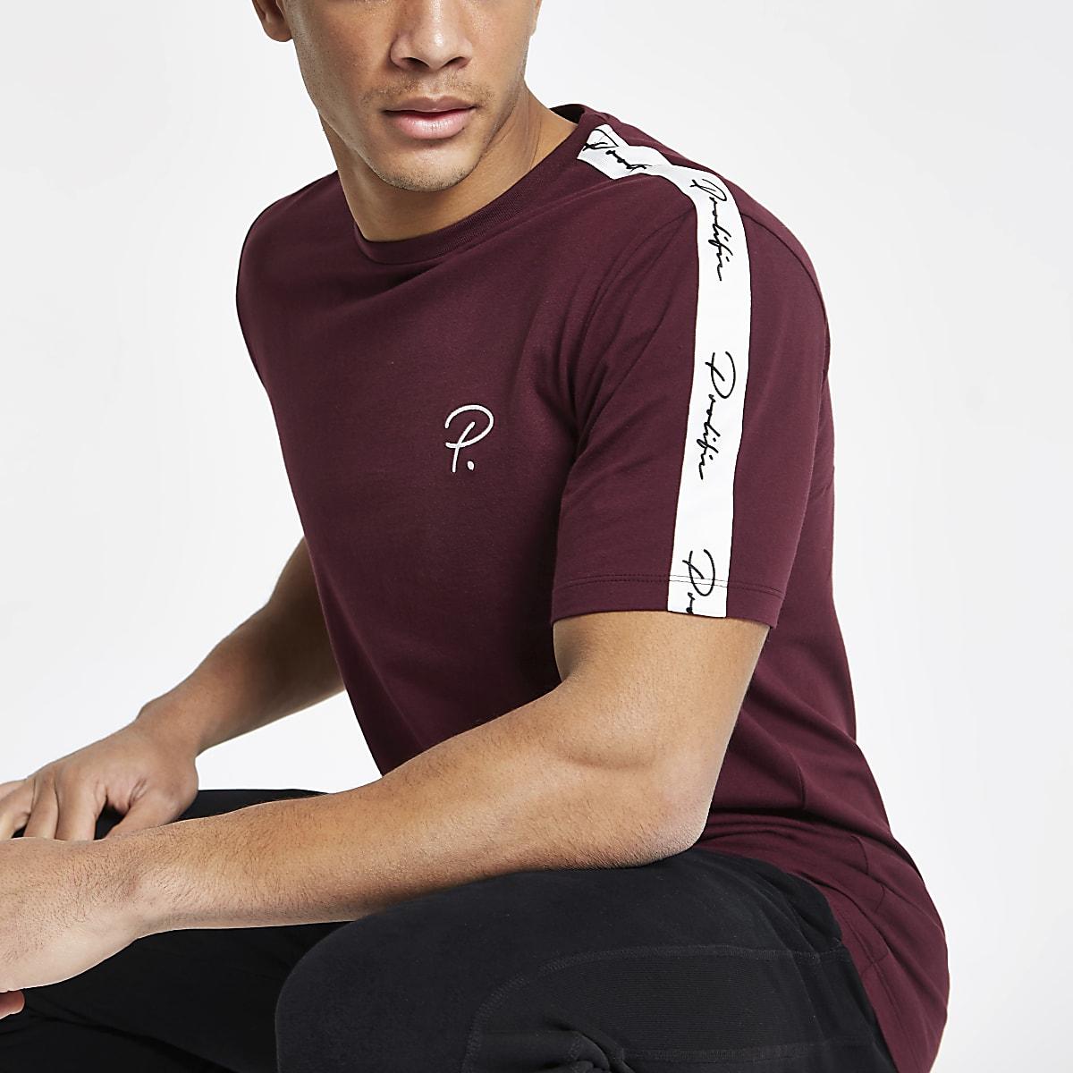 Dark red slim fit tape sleeve T-shirt