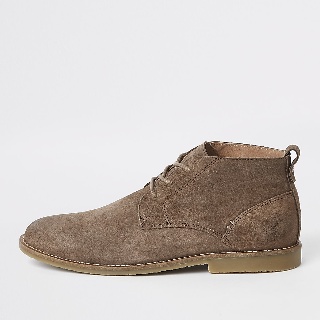 Stone suede eyelet chukka boots
