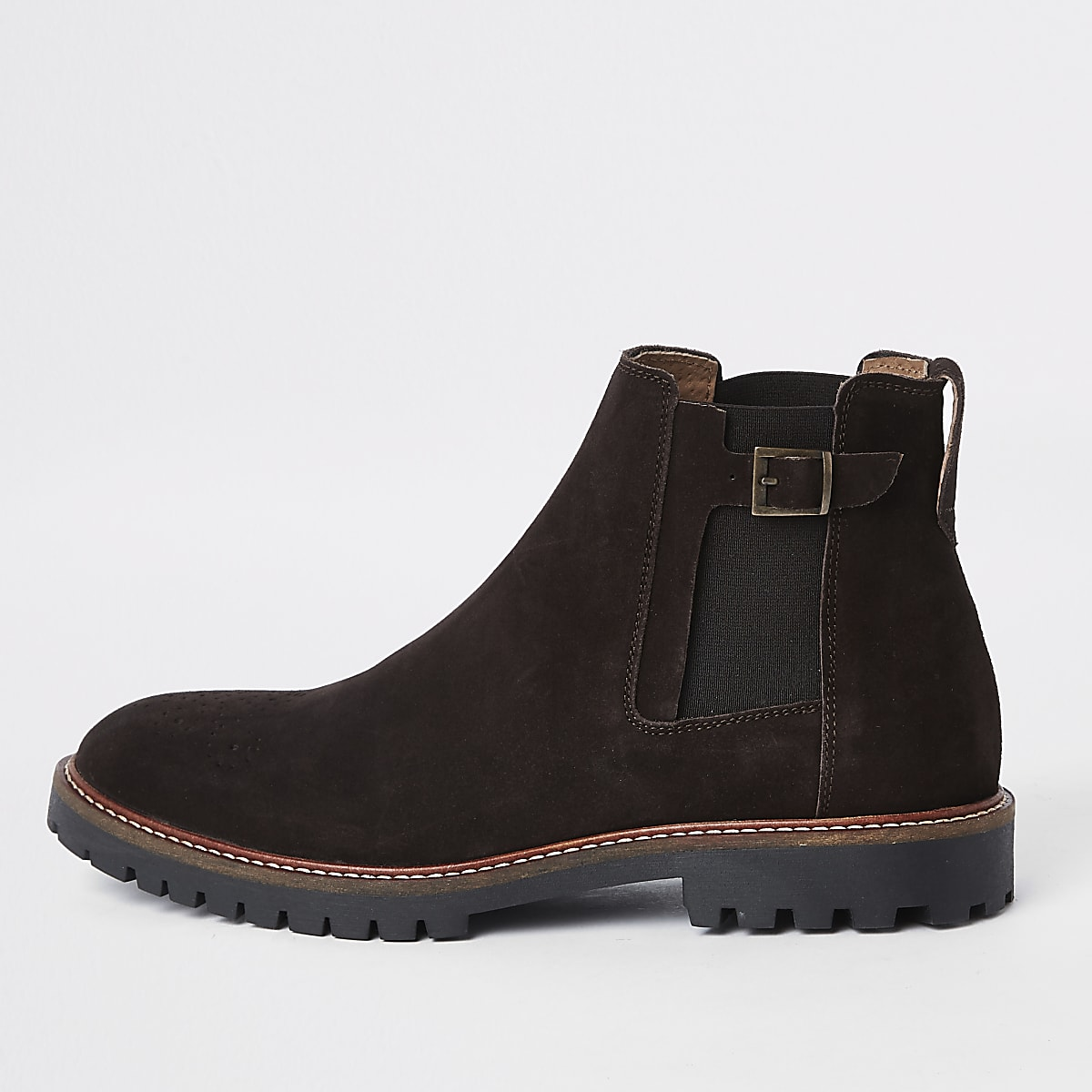 Dark brown suede sprayed toe chelsea boots