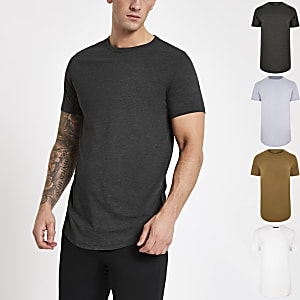 Multicoloured curved hem T-shirt 5 pack