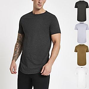 Buntes T-Shirt mit abgerundetem Saum, 5er-Pack