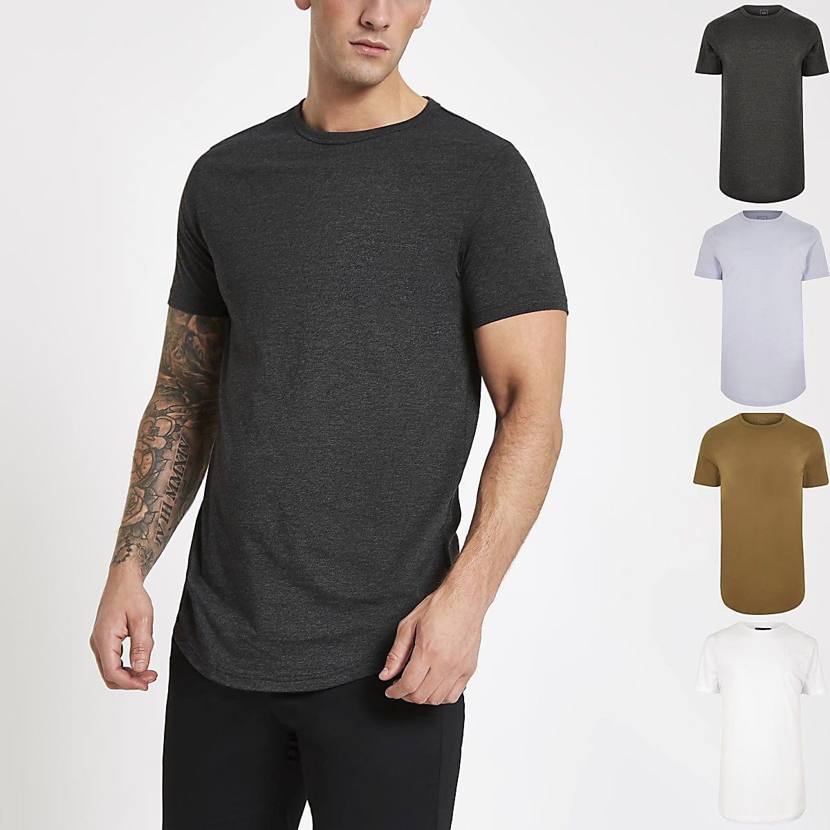 Multicolored curved hem T-shirt 5 pack