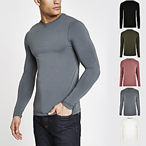 Grey muscle fit long sleeve T-shirt 5 pack