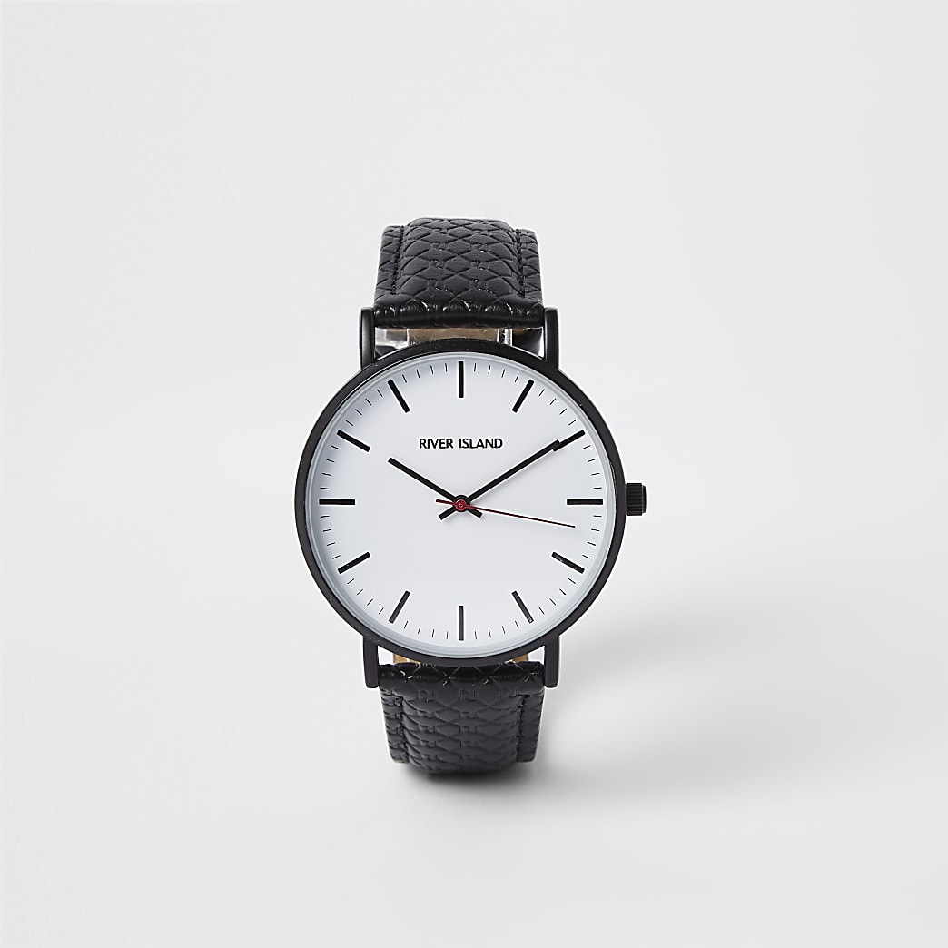 Black RI monogram round watch