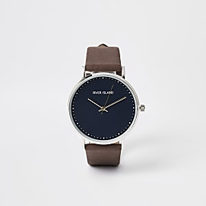 Brown silver tone minimal watch
