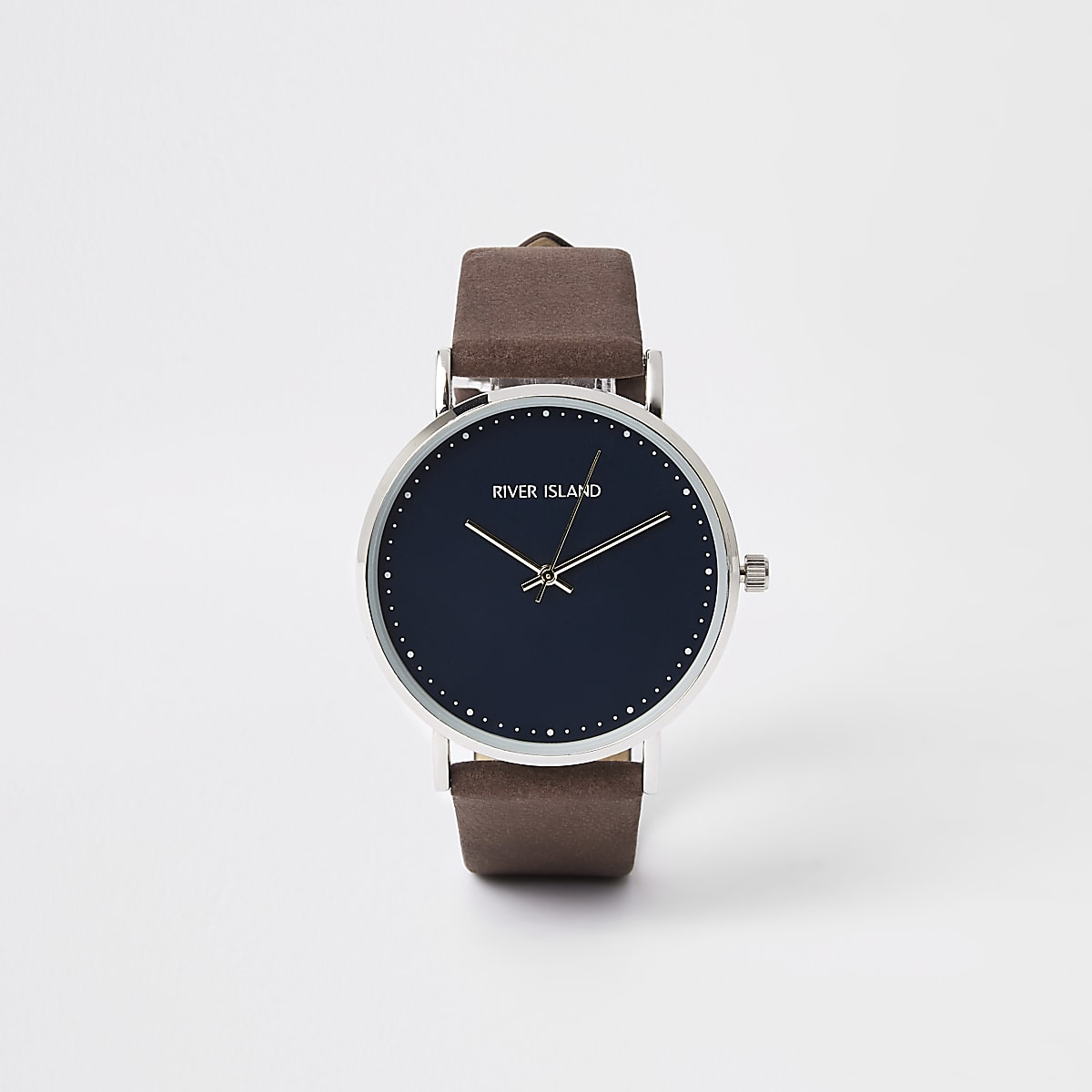 Brown silver tone minimal watch