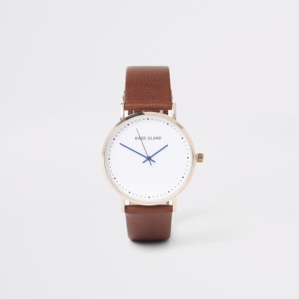 Light brown gold tone face watch