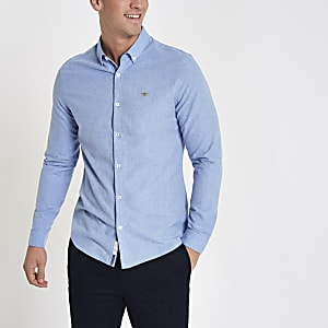 Light blue wasp embroidered long sleeve shirt