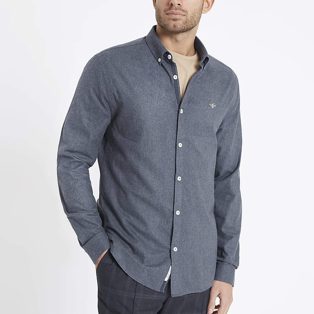 Blue wasp embroidered long sleeve shirt