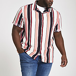 Big and Tall – Chemise rayée écrue à manches courtes