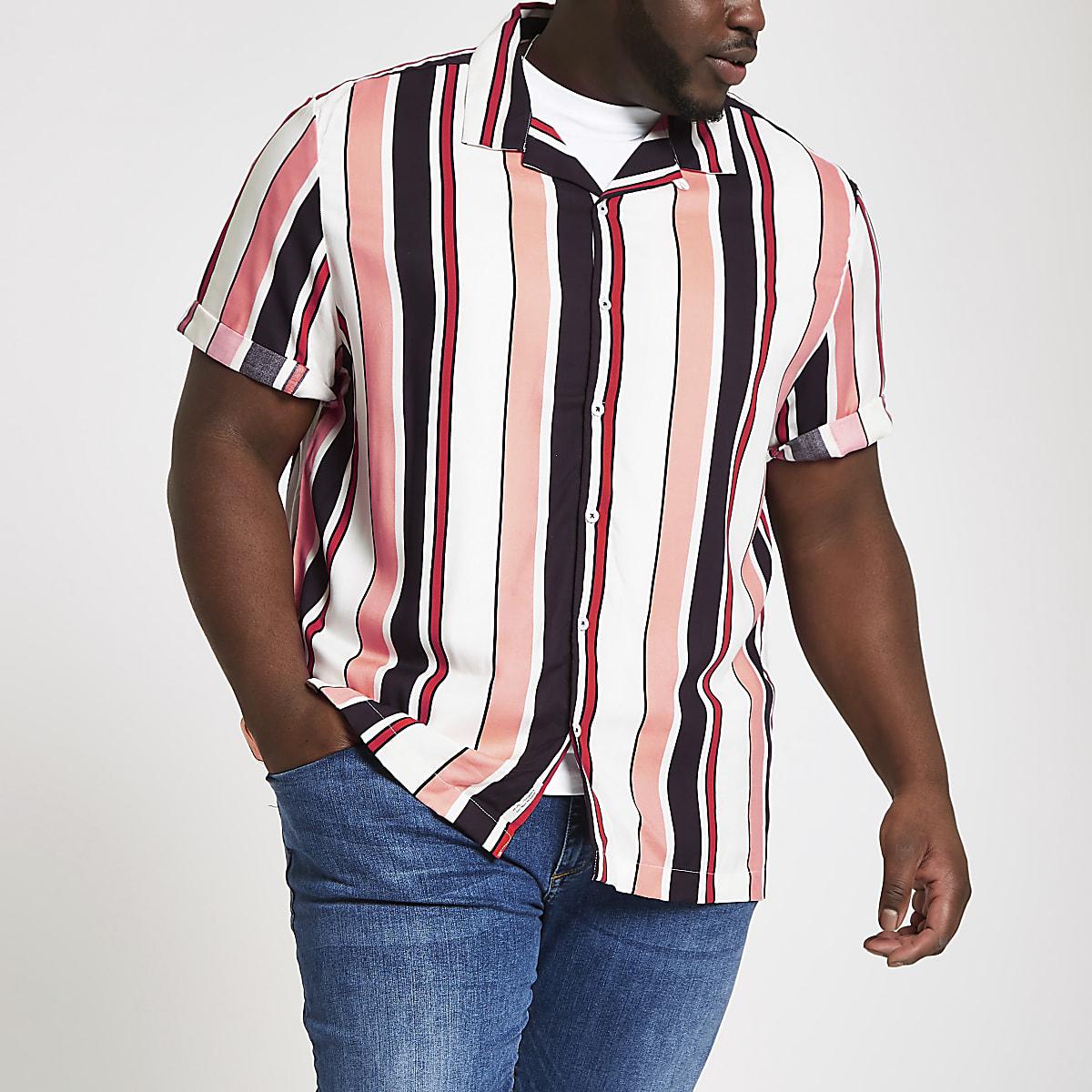 Big and Tall – Chemise rayée écrue à manches courtes