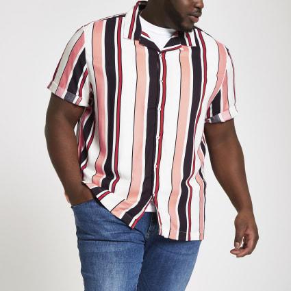 Big and Tall ecru stripe short sleeve shirt