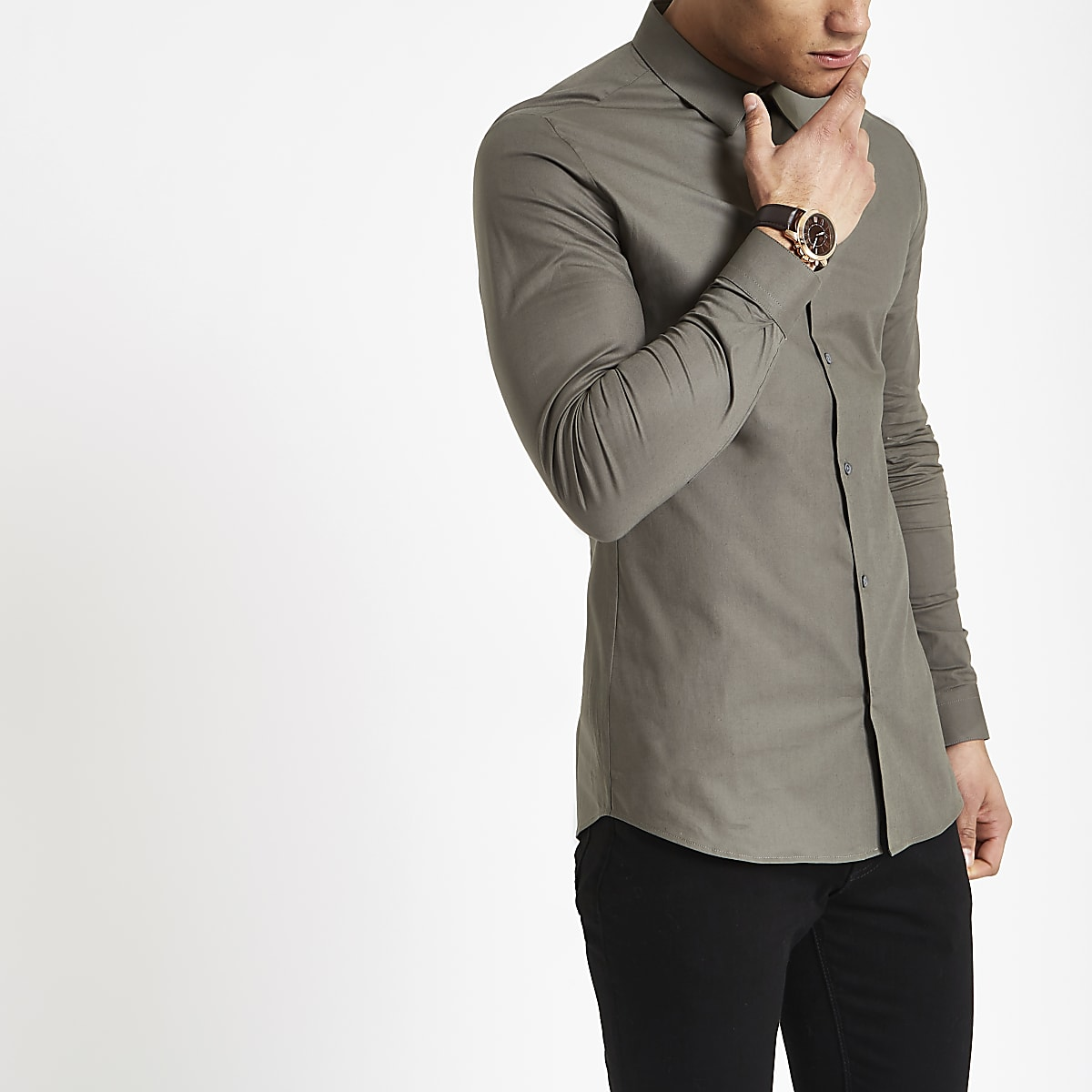 Chemise ajustée en popeline verte à manches longues