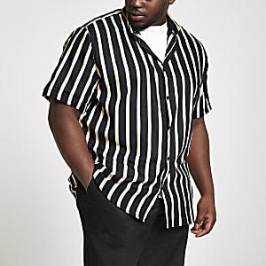 Big and Tall black stripe short sleeve shirt