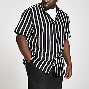 Big and Tall - Zwart gestreept overhemd met korte mouwen