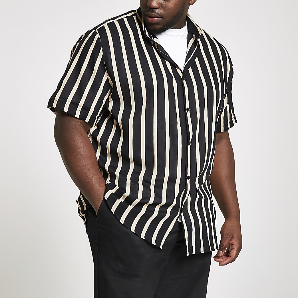 Big and Tall – Chemise manches courtes rayée noire