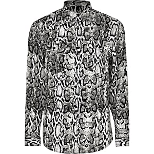 Big and Tall grey snake long sleeve shirt