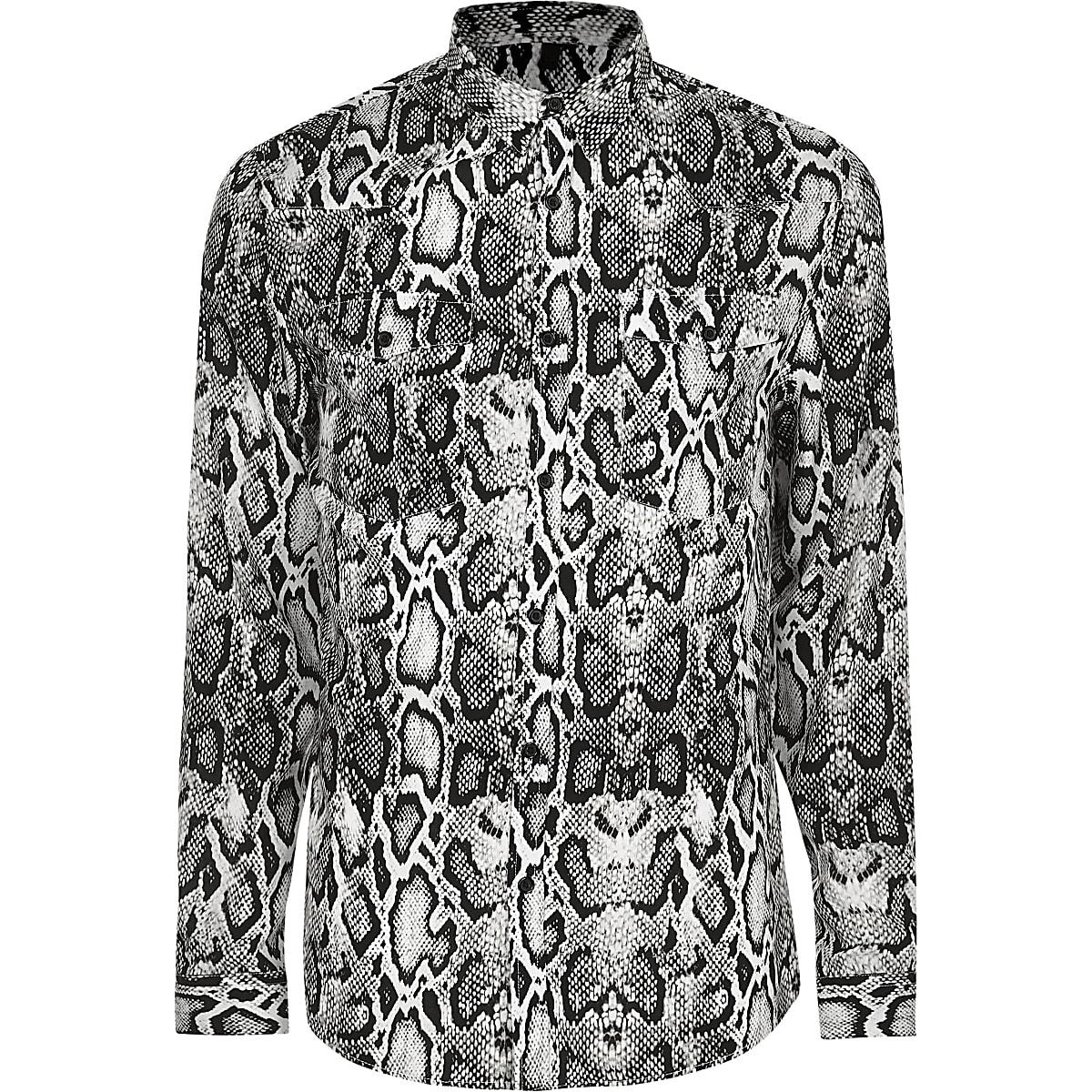 Big & Tall – Graues Langarmhemd