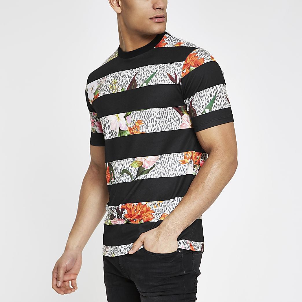 Zwart gebloemd slim-fit T-shirt met luipaardstrepen