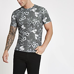 Grey floral check slim fit T-shirt