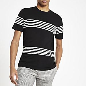 Schwarzes Slim Fit T-Shirt mit Streifen
