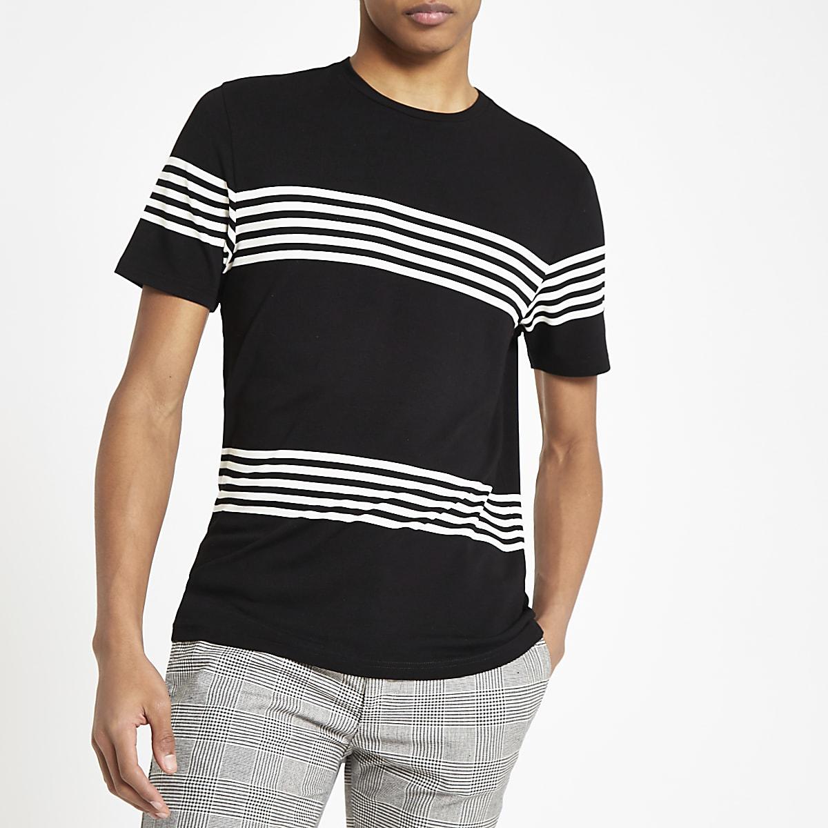 Black stripe slim fit crew neck T-shirt