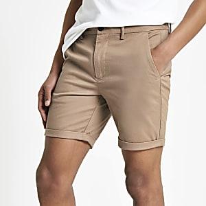 Hellbraune Skinny Chino-Shorts