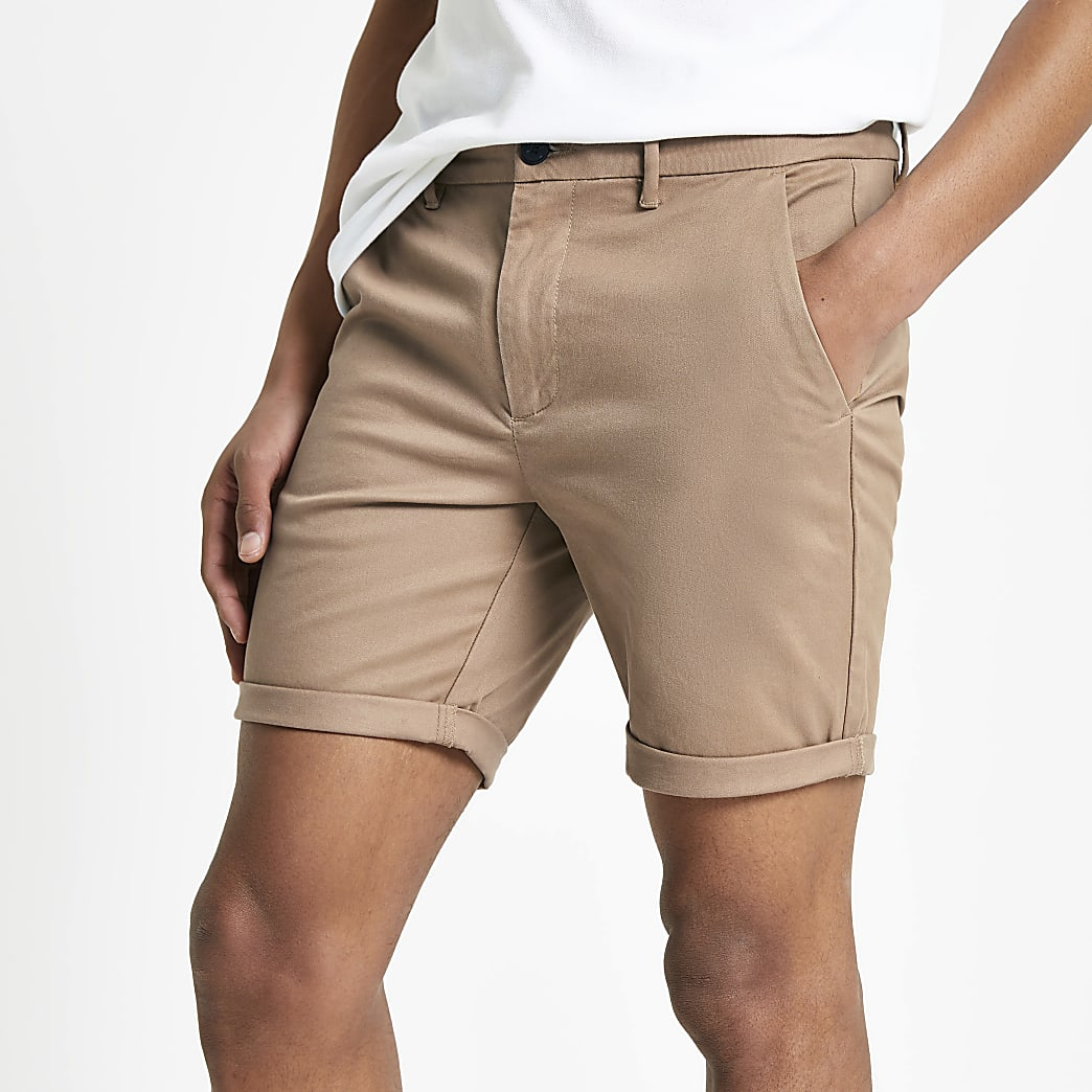 Light brown skinny chino shorts
