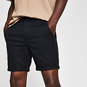 Marineblauwe skinny-fit chino short