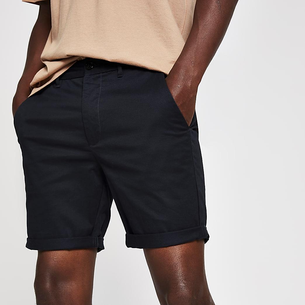Navy skinny fit chino shorts